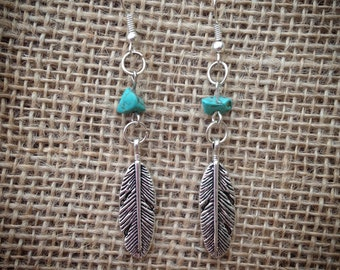 Turquoise and Feather Drop Earrings