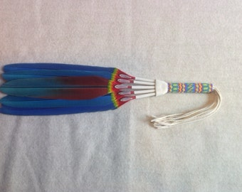 Macaw feather smudge fan