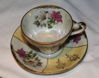 Ries Lusterware Gold Gilt Lily Tea Cup Set Vintage 1950's Hand Painted Floral Pattern Demitasse Japan Cabinet Decor Collectible - CT0185