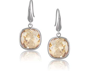 Golden Shadow Cushion 10mm Drop Earrings