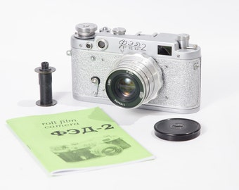 FED 2 Refurbished Leica USSR Camera Silver White Body Industar Lens Ready to shoot Warranty