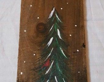 Rustic handpainted Peace On Earth tree