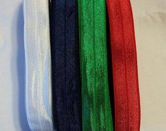 5/8 inch Shiny Fold Over Elastic 5 Yard bundles