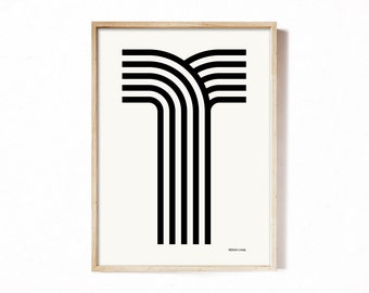 Letter T - modern typography alphabet print.