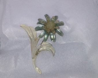 Early 1930s Celluloid Daisy Brooch  Blue/Green Flower with Clear Stem ~ A Vintage Beauty