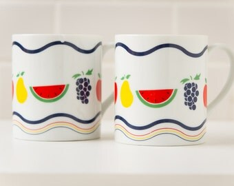 RETRO 80s Coffee Mugs Set of 2 /  Colorful Fruits Mixed Fruit / Prop Graphics / Kitchen Decor / Grapes, Apples, Watermelon