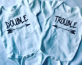 Double Trouble Onesies\\ Twins onesies \\Twinning\\Newborn Gifts \\Twins Gifts