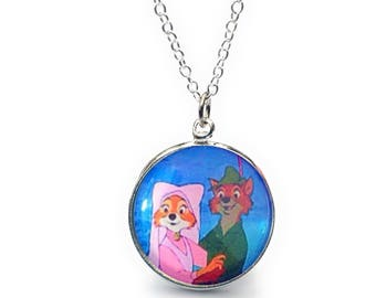 Disney Robin Hood And Maid Marian 20mm Glass Fronted Pendant Necklace