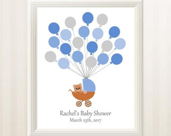 Teddy Bear Baby Shower Guest Book Alternative with Blue and Gray Balloons - Balloon Guest Book - Printable, Custom, Digital