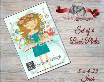 BOOK PLATES for Children's Books.Editable! Keep track of kids books or give as a perfect kids gift along with a book! Great stocking stuffer