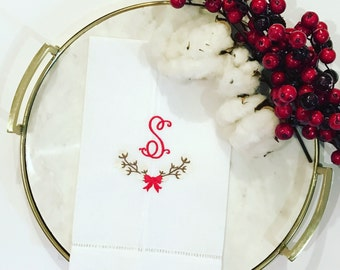 Monogrammed Cotton Ball Wreath with a Bow-Linen Hemstitch Tea Towel-Christmas-Holiday Decor-Preppy Holiday-Linens-Guest Towel