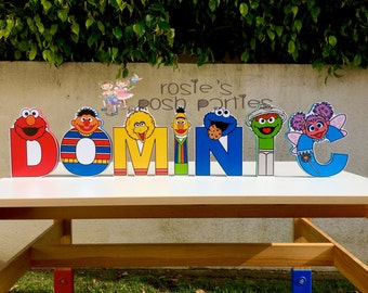 Sesame Street Letters Elmo Cookie Monster Abby Big Bird wood letters characters for birthday, work desk, house or room decor birthday gift