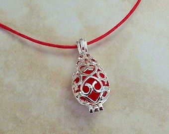 SALE ~ Aromatherapy Teardrop Filigree Charm Pendant Silver Plated String Necklace 28 Inches