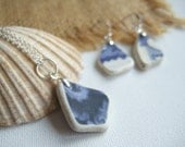 Scottish sea pottery necklace and earring set blue sea pottery jewelery set necklace and earring set blue and white necklace sea china
