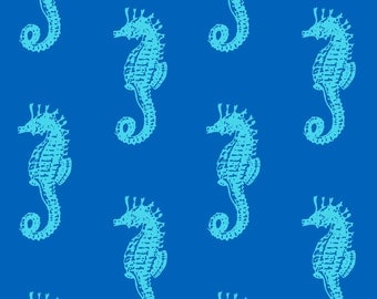 Southport by 3 Wishes - Royal Seahorses - Cotton Woven Fabric