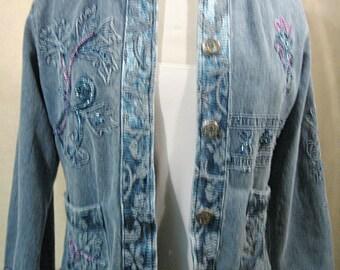 SZ M Music Festival Jacket, Embellished Denim Jacket, Embellished Jean Jacket, Embroidered Denim Jacket, Embroidered Festival Jacket