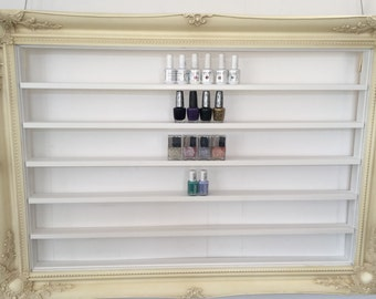 Nail Polish rack Display Frame dark cream  french style with white shelves