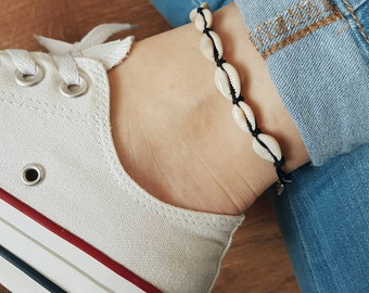 Anklet Lucky Shells, Black