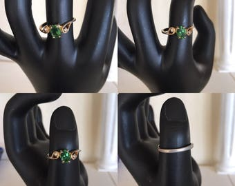 Vintage Faux Emerald Ring May Birthstone  ~ Size 7 3/4