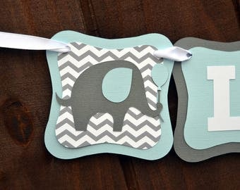Elephant Baby Shower Banner, Personalized Chevrone Name Banner, It's A Boy, Little Peanut, Custom Birthday Banner, Custom Decorations