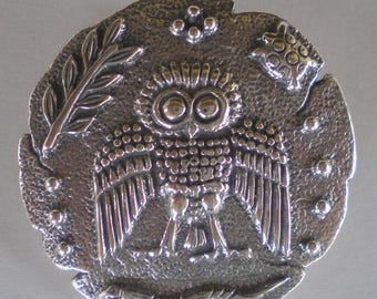 For Sale Owl Of Wisdom Silver Pendant Brooch Pin - Goddess Athena Symbol - Ancient Greece