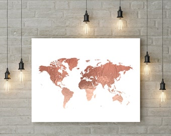 Rose Gold World Map Poster Large World Map Print Faux Foil Map Printable World Map Art Travel Decor Pink Map Print DIGITAL FILE 24x36 16x20