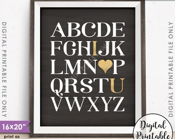 "Alphabet I Love You Wall Art Playroom Art Nursery Decor ABC I Love You Gold Glitter, Instant Download 8x10/16x20"" Chalkboard Style Printable"