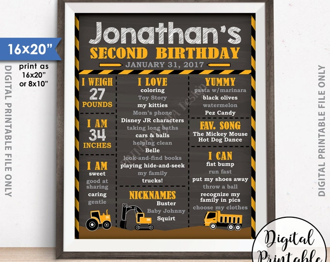 "Truck Birthday Poster, Tractor Birthday Personalized Milestones Sign, Yellow Truck B-day, 8x10/16x20"" Chalkboard Style Printable Sign"
