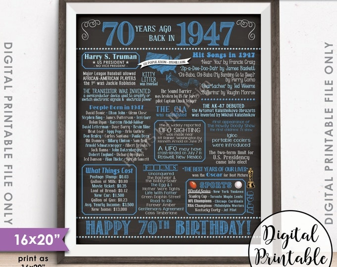 """70th Birthday Gift 1947 Poster 70 Years USA Flashback Born in 1947 Birth 70th B-day, Chalkboard Style PRINTABLE 8x10/16x20"""" Instant Download"""