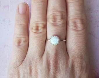White opal ring, blue opal ring, crown ring, sterling silver ring, statement ring, gift for her, Mothers day gift, delicate silver ring