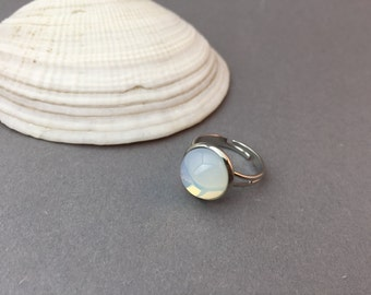 Opal ring Platinum plated silver