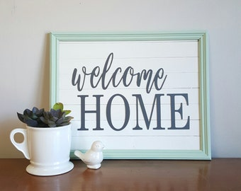 Welcome Home Sign, Shiplap Sign, Shiplap, Sign, Home Sign, Framed Sign