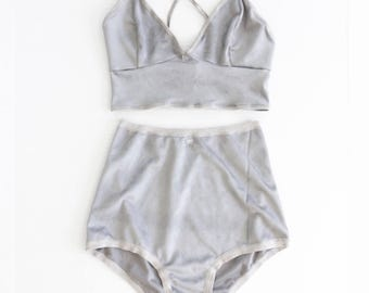 Suede Lingerie Set, Vegan Leather, Grey Bra and Panty, Matching top and bottom, Comfortable Lingerie, High Waist Panty, Longline Bralette