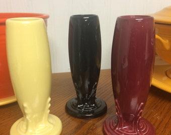 Retired Fiesta Black, Yellow, or Cinnabar bud vase Fiestaware