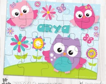 SALE Owl personalized puzzle, 20 pieces puzzle, name puzzle, Personalized name puzzle, Kids Personalized Gift - PU161
