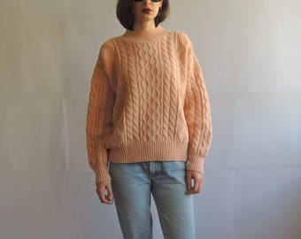 Vintage Peach Cable Knit Sweater