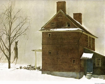 Large Print, Tenant Farmer painted by Andrew Wyeth. The page is approx. 16 1/2 inches wide and 13 inches tall.