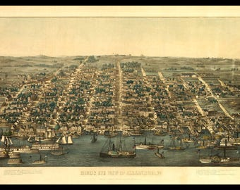 "Panoramic Map of Alexandria, VA in 1863, This is a very nice print not a road map. Great Wall decor for Den or Office. Up to 12"" X 18"""