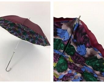 Vintage 1950s double floral print umbrella