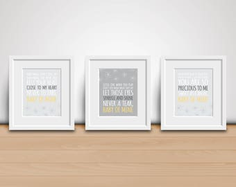 8x10 Digital Prints-Baby of Mine (Dumbo Song)-Gray and Yellow Nursery-3 Pack - Baby Mine - Baby Room Decor - Download