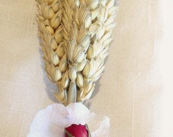 Wheat Boutonnière, Rose Button hole, Dried Flower Wedding buttonhole, vintage, shabby chic, wedding dress, suit, Groom, Groomsmen