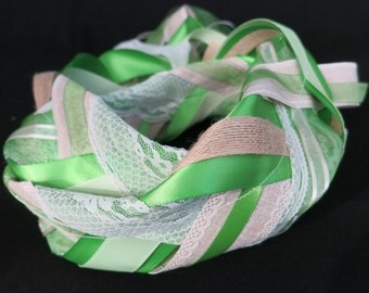 Green, Ivory, and Light Brown Handfasting Cord