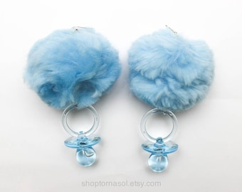 Huge blue pom pom earrings -  Blue crybaby pacifier pompom - Big pastel blue pom-pom earrings - Baby blue baby girl earrings - Paci earrings