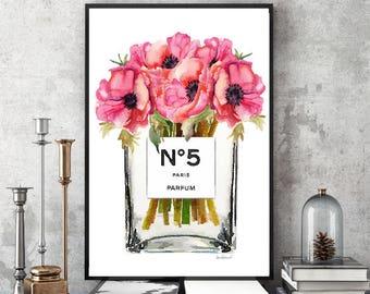 Fashion Watercolor, tall vase, perfume, make up, flower, Poppy, red,bathroom, bedroom decor, fashion illustration, fashion wall art, gift