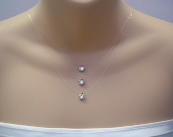 Solitaire ~ Floating cz Crystal Illusion Necklace, Triple Three Strand Layered (ss3)