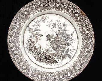 English Ironstone Brown and White Floral Dinner Plate 9.75 inches Display Replacement