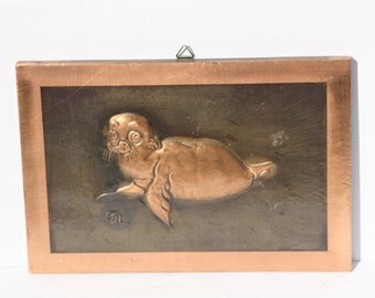 Seal Picture, Brass Seal Picture, Seal Wall Hanging, Nautical Picture, Copper Picture, Relief Picture