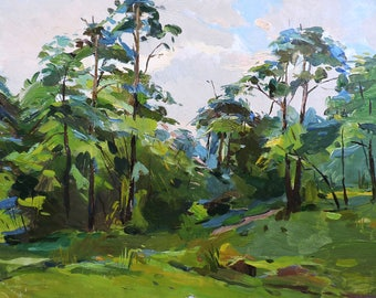 MID CENTURY ART Vintаge Impressionist Original Oil Painting by M.Borymchuk 1950s, Summer Forest Landscape, Woodland scenery Trees in picture