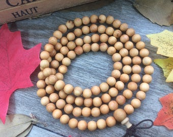 108 6mm Natural Light Yellow Thuja sutchuenensis Rosewood Precious Buddha Japa Mala Prayer Beads necklace