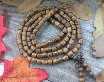 108pcs Natural Barrel Green Wood Beads Meditation Prayer Beads Japa Mala Buddha Necklace